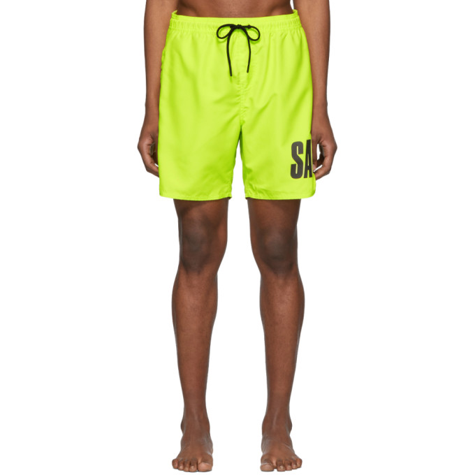 Saturdays NYC Maillot de bain jaune Timothy Accordion Logo