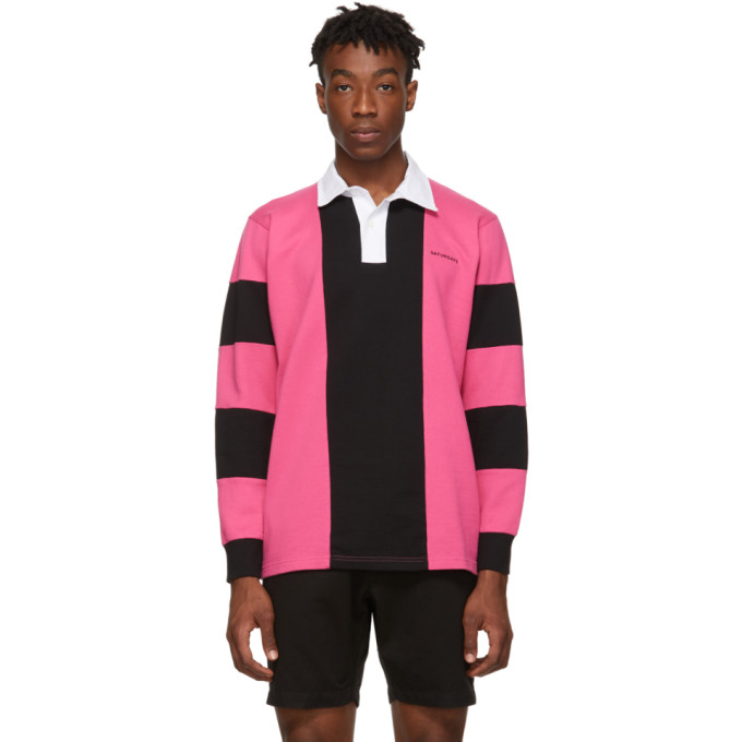 Saturdays Surf Nyc Tops SATURDAYS NYC PINK AND BLACK SANDERS POLO