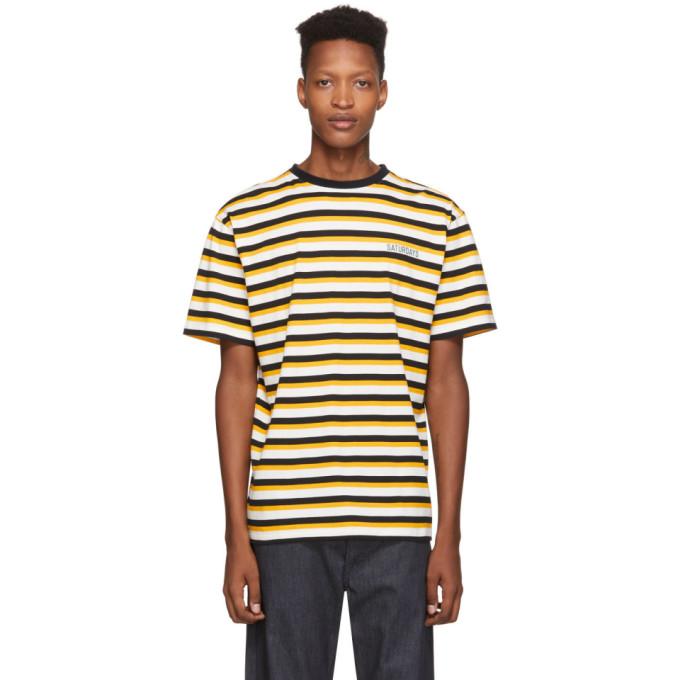 Saturdays NYC T-shirt jaune et noir Skeleton