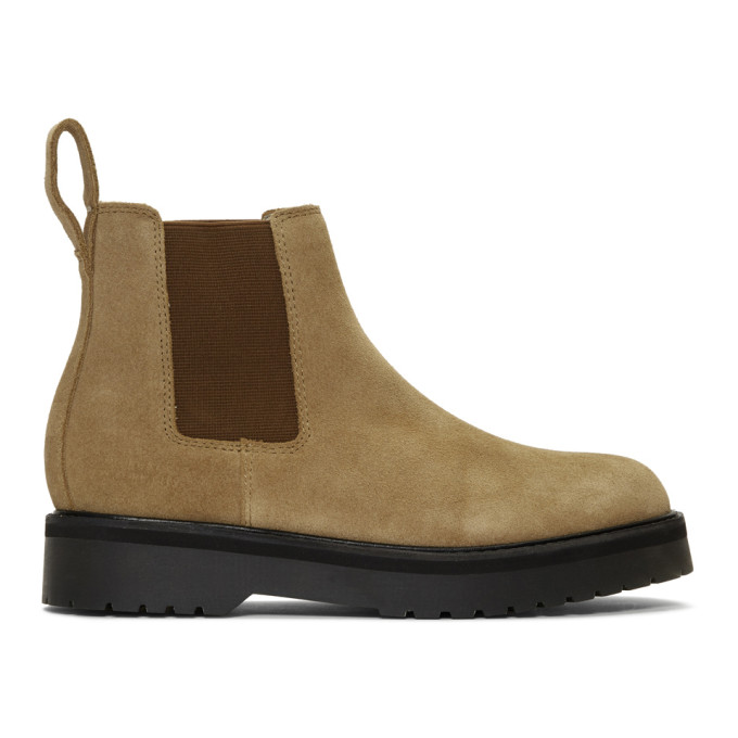 Saturdays NYC Bottes chelsea en suede kaki Rick