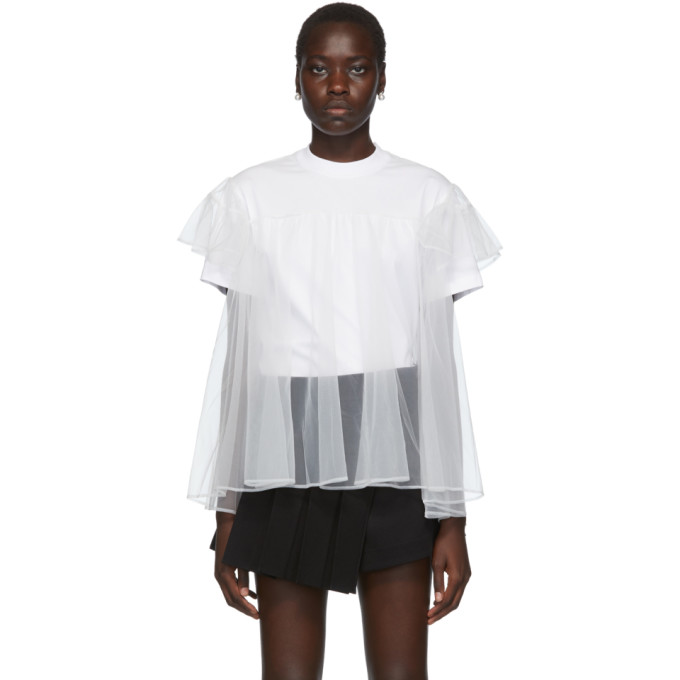 Shushu/Tong T-shirt blanc Tulle Overlay exclusif a SSENSE