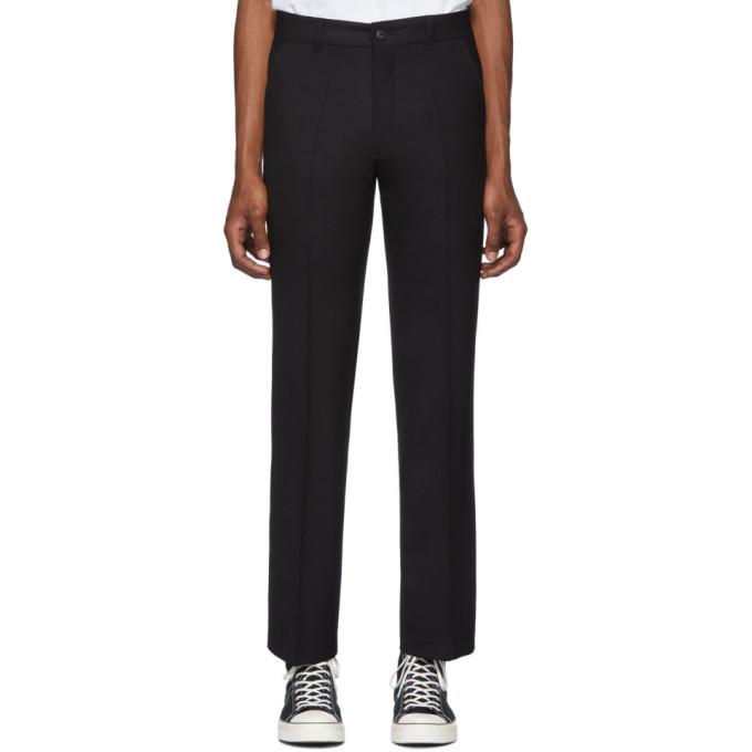 Second/Layer Pantalon semi-evase en laine noir Vintage