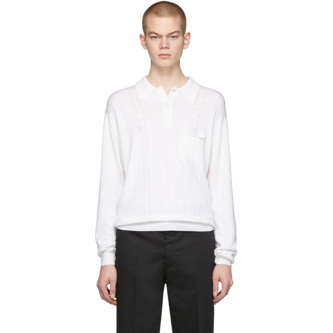 Second/Layer Polo a manches longues en maille blanc