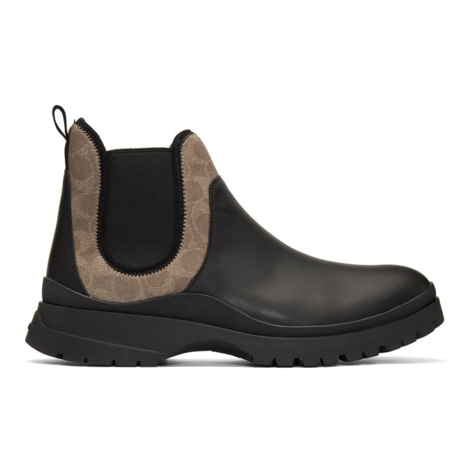 Coach 1941 Black and Khaki Hybrid Chelsea Boots