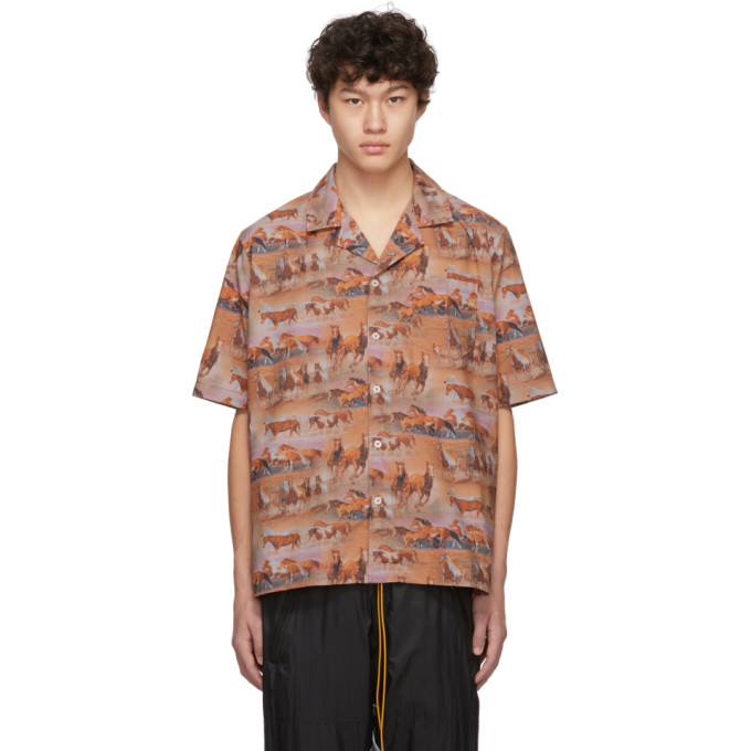 Rhude Chemise orange Horses Printed