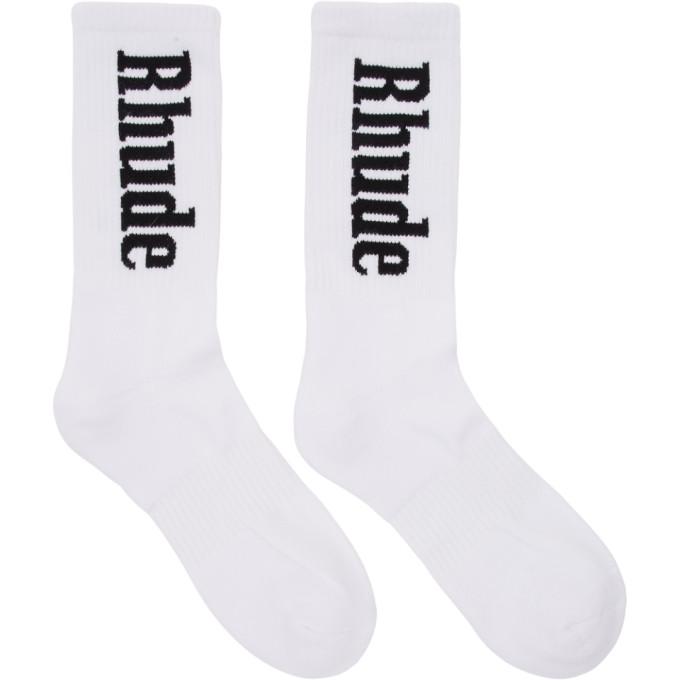 Rhude White Logo Socks