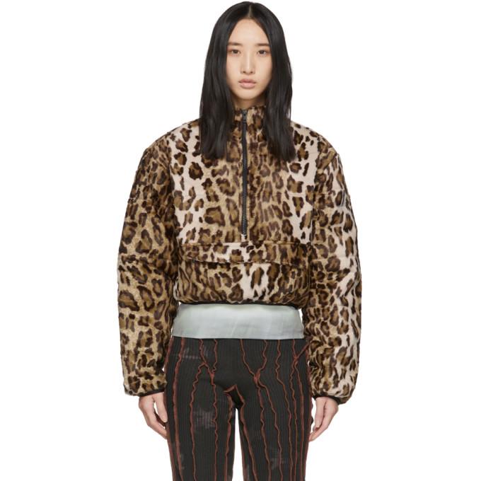 Ashley Williams Blouson en fourrure synthetique a motif leopard brun Puffa