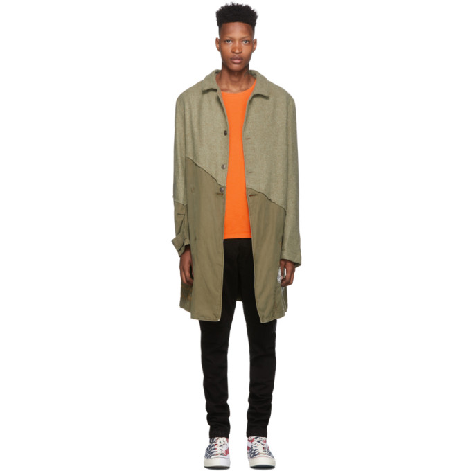 Greg Lauren Trench en tweed vert 50/50 Army