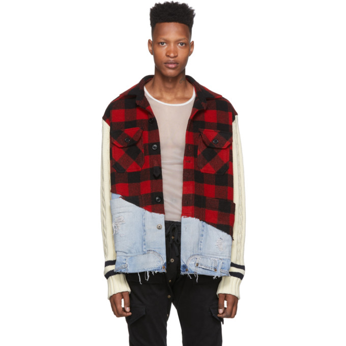 Greg Lauren Blouson en denim a carreaux rouge 50/50 Studio