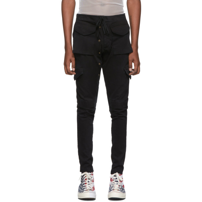 Greg Lauren Pantalon cargo en denim noir