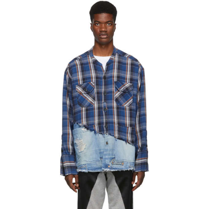 Greg Lauren Chemise bleue 50/50 Plaid/Denim Studio