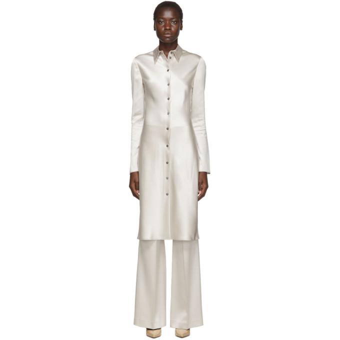 Joseph Silver Silk Calum Dress In 0203 Mastic