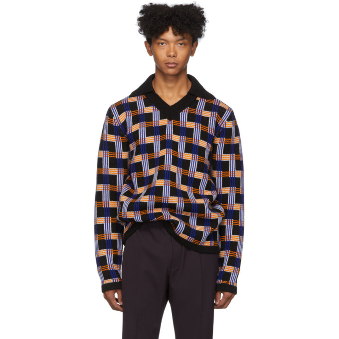 Joseph Black and Multicolor Check Sweater