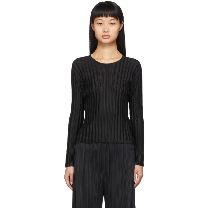 Pleats Please Issey Miyake Chemise plissee a col ras du cou noire