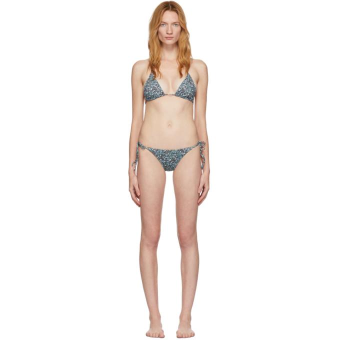Matteau Bikini fleuri bleu String