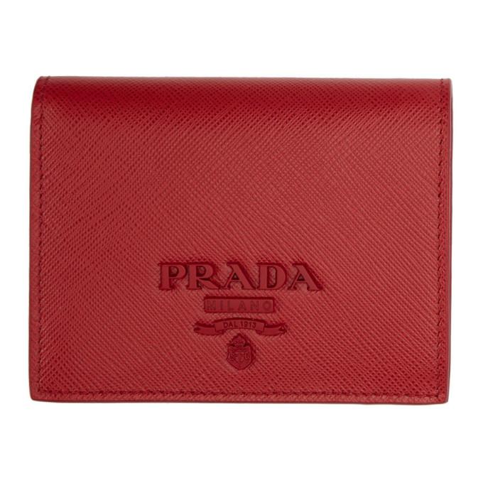 Prada レッド サフィアーノ ロゴ ウォレット