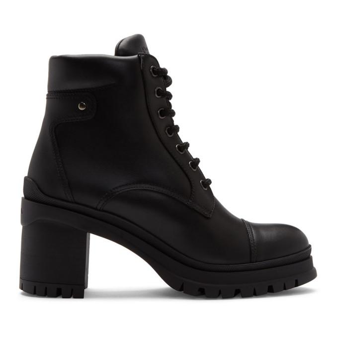 Prada Black Heeled Combat Boots