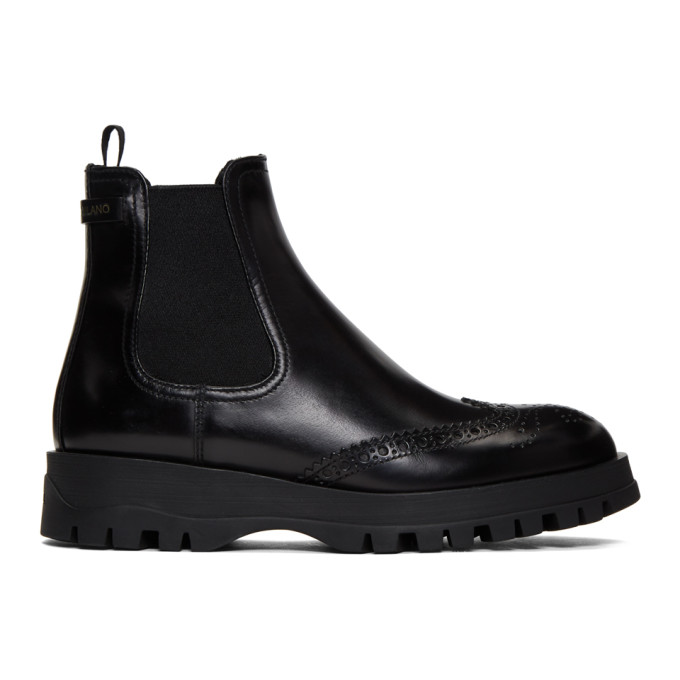 Prada Black Oxford Chelsea Boot