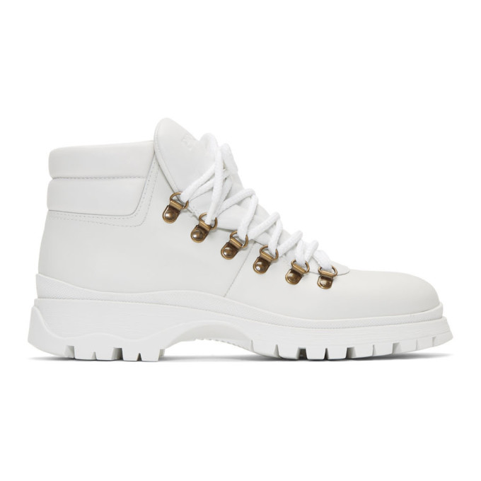Prada White Leather Lace-Up Boots