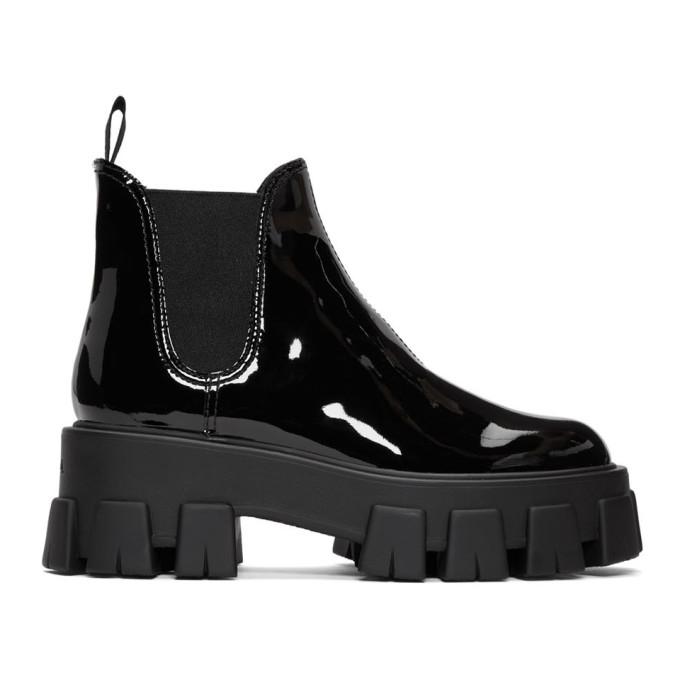 Prada Boots PRADA BLACK PATENT PLATFORM ANKLE BOOTS
