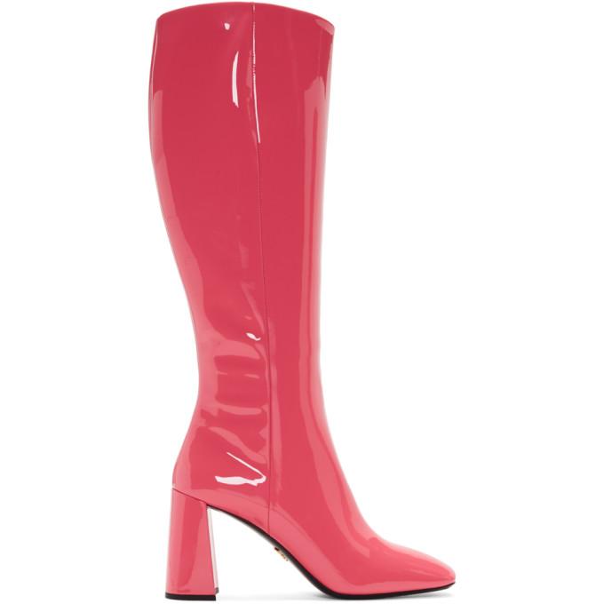 Prada Pink Patent Boots