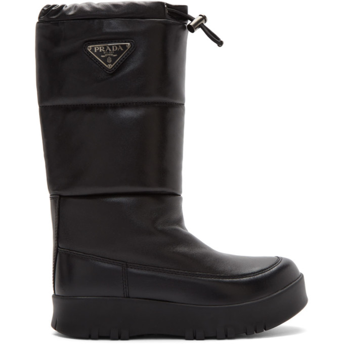 Prada Black Leather Moon Boots