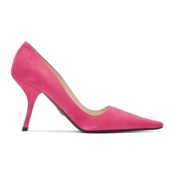 Prada Pink Suede Curved Heels