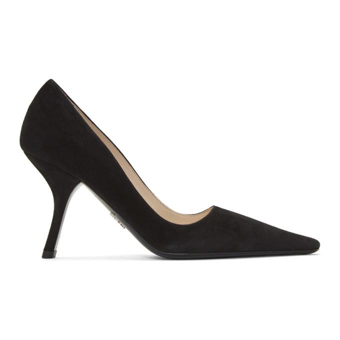 Prada Black Suede Curved Heels