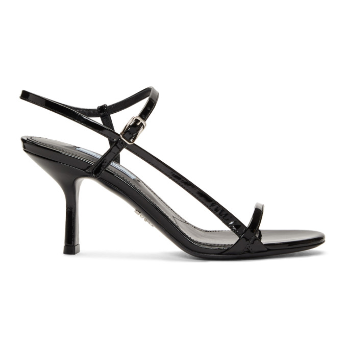 Prada Black Shiny Heeled Sandals