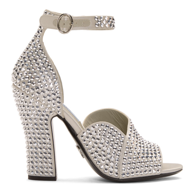 Prada Silver Crystal Embellished Strappy Heeled Sandals