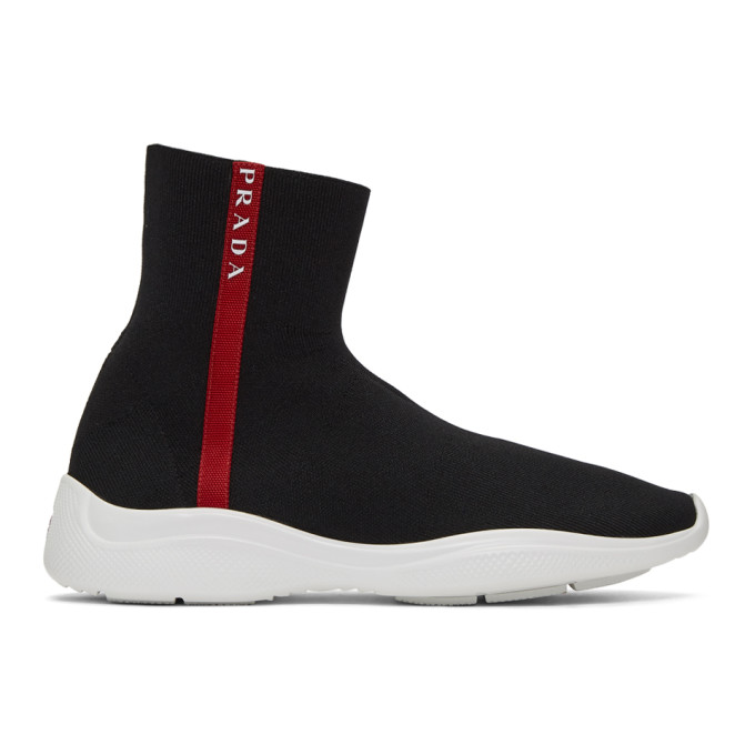 Prada Black and White Knit High-Top Sneakers