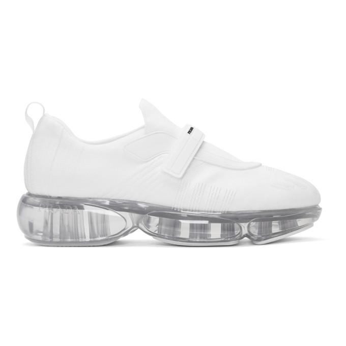 Prada White Knit Clear Cloudbust Sneakers