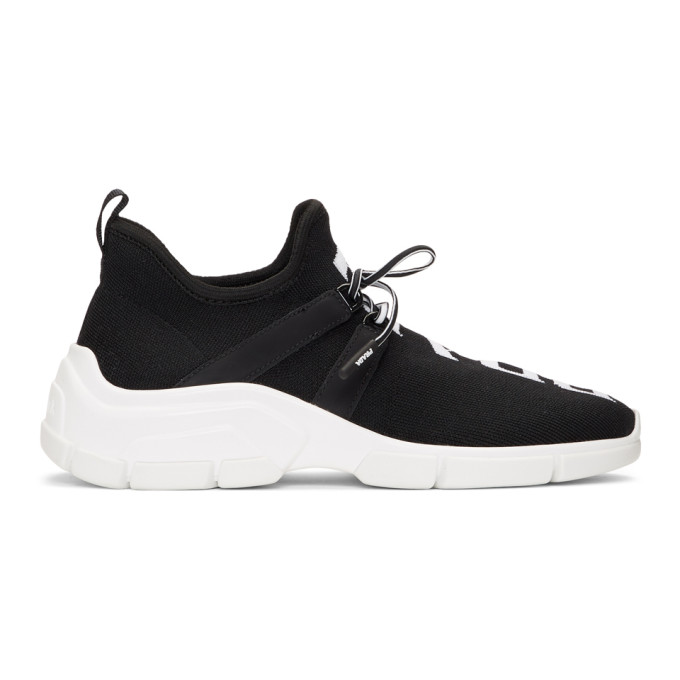 Prada Black Knit Logo Sneakers