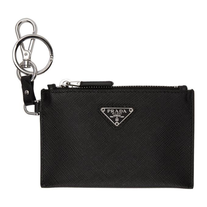 cd2a76e4 Prada Black Saffiano Travel Pouch Keychain in F0002 Nero
