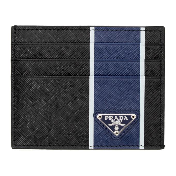 Prada ブラック and ブルー カラーブロック カード ホルダー