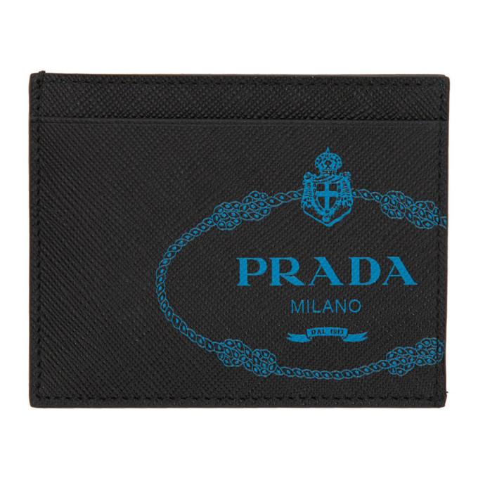 Prada ブラック サフィアーノ ロゴ カード ホルダー