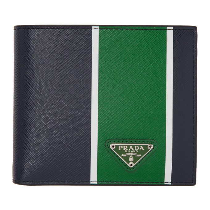 PRADA | Prada Blue And Green Saffiano Wallet | Goxip