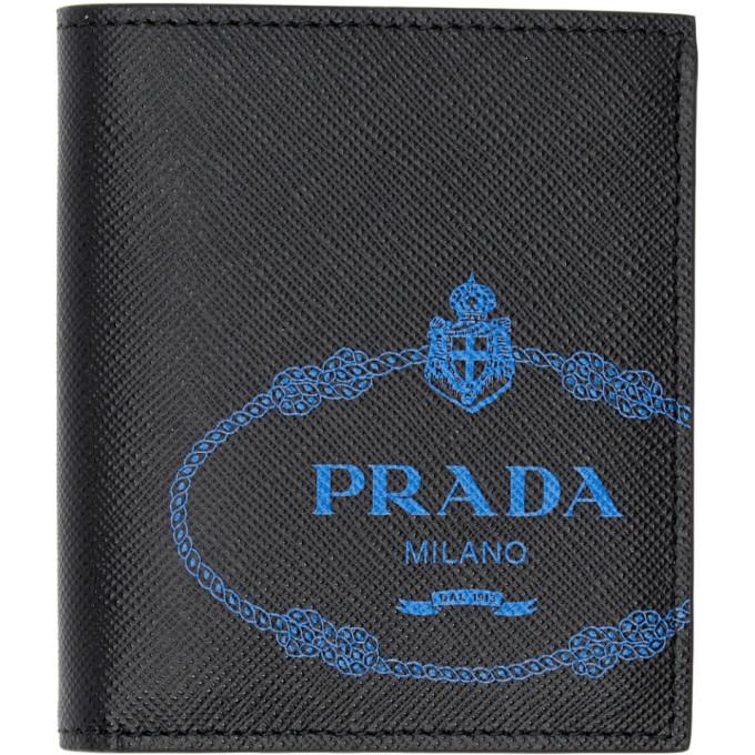Prada Black and Blue Saffiano Wallet