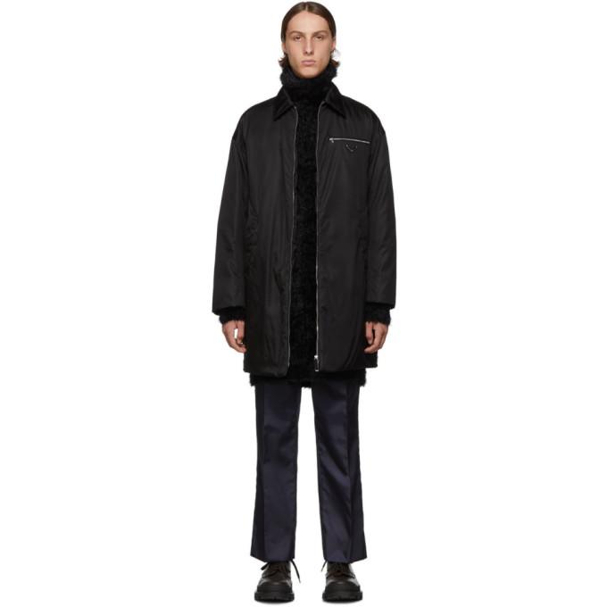 Prada Black Down Nylon Gabardine Coat