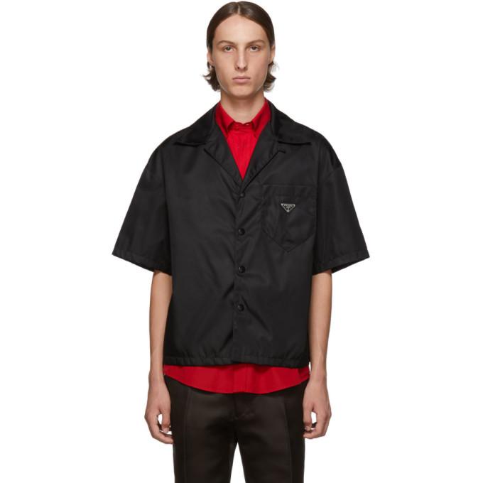 Prada T-shirts PRADA BLACK NYLON GABARDINE SHIRT