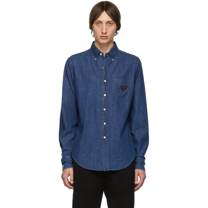 Prada T-shirts PRADA BLUE WASHED DENIM SHIRT