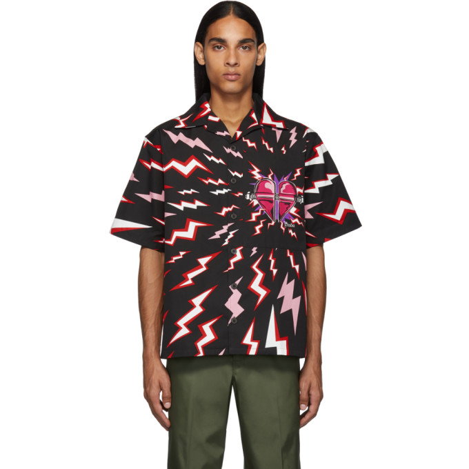 Prada Black and Red Thunder Print Shirt