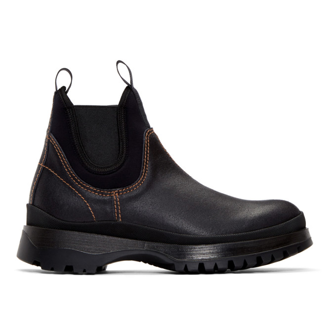 Prada Black Leather and Neoprene Chelsea Boots
