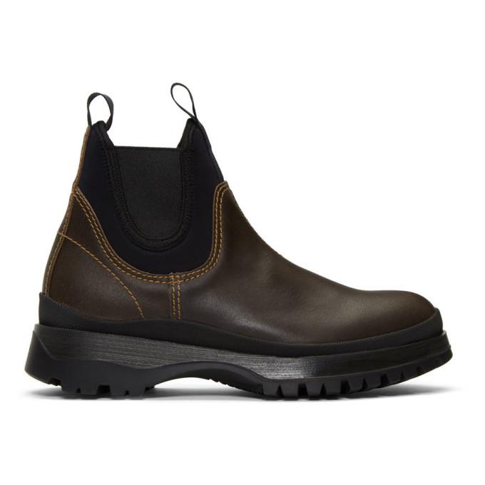 Prada Brown Chelsea Boots