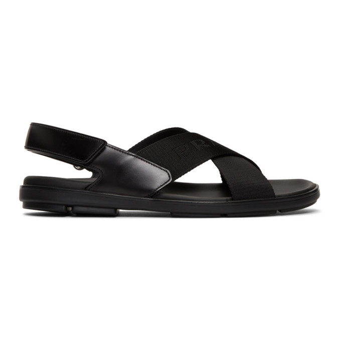 21fab5e7 Prada Black Logo Tape Ankle Strap Sandals 192962M23400313