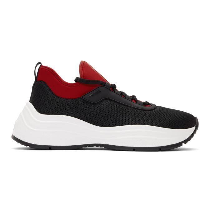 Prada Black and Red Knit PRAX 01 Sneakers