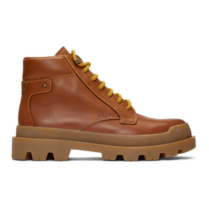 Prada Boots PRADA BROWN HIKING BOOTS
