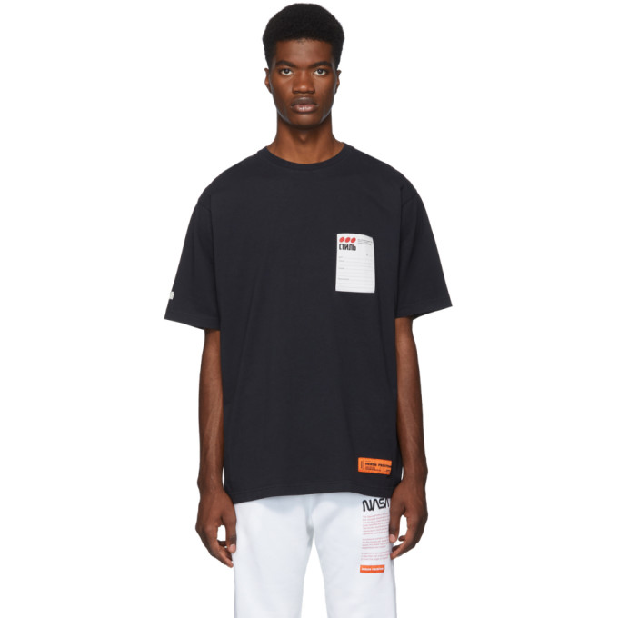 Heron Preston Black Sticker Label T-Shirt