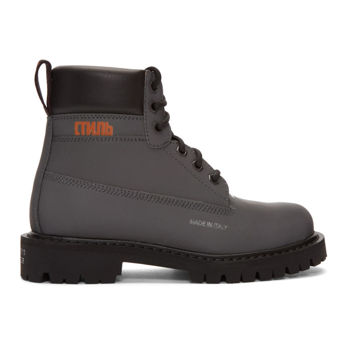 Heron Preston Black Reflective Worker Boots