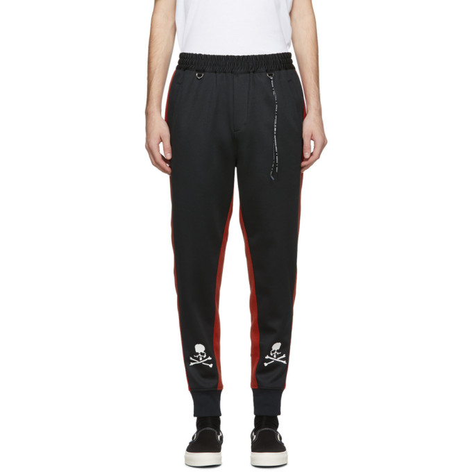 Mastermind Japan Pants MASTERMIND WORLD BLACK AND RED SIDE LINE TRACK PANTS